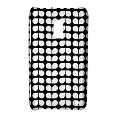 Black And White Leaf Pattern Nokia Lumia 620 Hardshell Case by creativemom