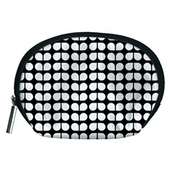 Black And White Leaf Pattern Accessory Pouch (medium) by creativemom