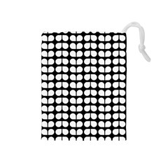 Black And White Leaf Pattern Drawstring Pouch (medium) by creativemom