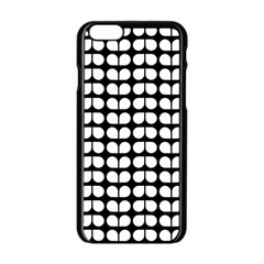 Black And White Leaf Pattern Apple Iphone 6 Black Enamel Case by creativemom