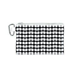 Black And White Leaf Pattern Canvas Cosmetic Bag (small) by creativemom