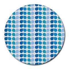 Blue Green Leaf Pattern 8  Mouse Pad (round) by creativemom