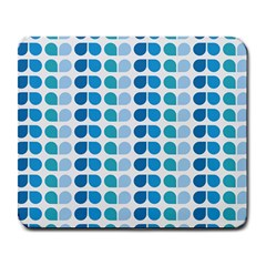 Blue Green Leaf Pattern Large Mouse Pad (rectangle) by creativemom
