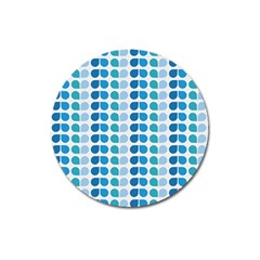 Blue Green Leaf Pattern Magnet 3  (round) by creativemom
