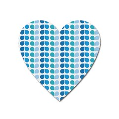 Blue Green Leaf Pattern Magnet (heart) by creativemom