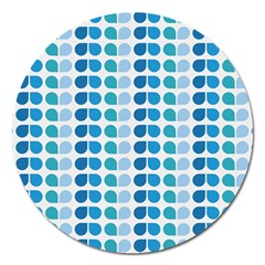Blue Green Leaf Pattern Magnet 5  (round) by creativemom