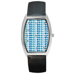 Blue Green Leaf Pattern Tonneau Leather Watch by creativemom