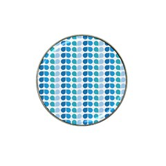 Blue Green Leaf Pattern Golf Ball Marker 4 Pack (for Hat Clip) by creativemom
