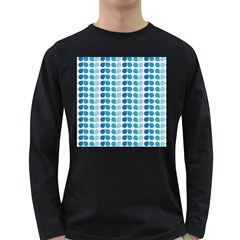 Blue Green Leaf Pattern Men s Long Sleeve T Shirt (dark Colored) by creativemom