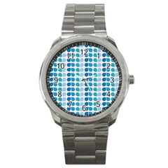 Blue Green Leaf Pattern Sport Metal Watch by creativemom