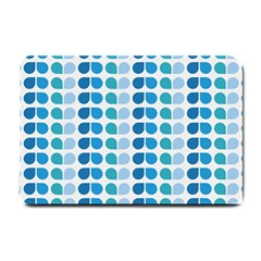 Blue Green Leaf Pattern Small Door Mat by creativemom