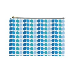Blue Green Leaf Pattern Cosmetic Bag (large) by creativemom