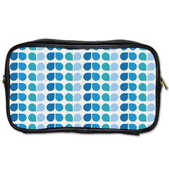 Blue Green Leaf Pattern Travel Toiletry Bag (two Sides) by creativemom