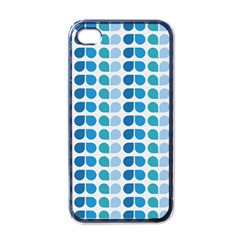 Blue Green Leaf Pattern Apple Iphone 4 Case (black) by creativemom