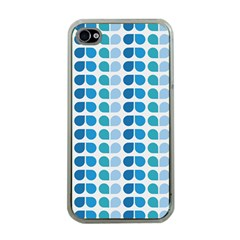 Blue Green Leaf Pattern Apple Iphone 4 Case (clear) by creativemom