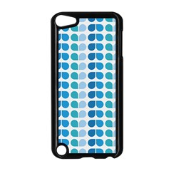 Blue Green Leaf Pattern Apple Ipod Touch 5 Case (black) by creativemom
