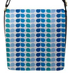 Blue Green Leaf Pattern Flap Closure Messenger Bag (small) by creativemom