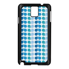 Blue Green Leaf Pattern Samsung Galaxy Note 3 N9005 Case (black) by creativemom