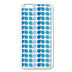 Blue Green Leaf Pattern Apple Iphone 6 Plus Enamel White Case by creativemom