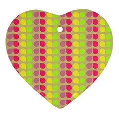 Colorful Leaf Pattern Heart Ornament by creativemom
