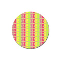 Colorful Leaf Pattern Magnet 3  (round) by creativemom