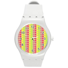 Colorful Leaf Pattern Plastic Sport Watch (medium) by creativemom