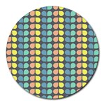 Colorful Leaf Pattern 8  Mouse Pad (Round) Front