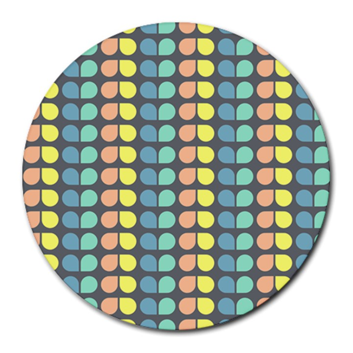Colorful Leaf Pattern 8  Mouse Pad (Round)