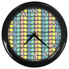 Colorful Leaf Pattern Wall Clock (black) by creativemom