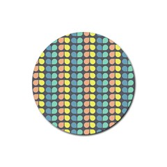 Colorful Leaf Pattern Drink Coaster (round) by creativemom