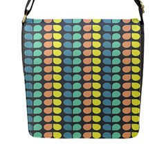 Colorful Leaf Pattern Flap Closure Messenger Bag (large) by creativemom