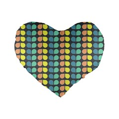 Colorful Leaf Pattern 16  Premium Flano Heart Shape Cushion  by creativemom