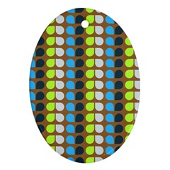 Colorful Leaf Pattern Oval Ornament by creativemom