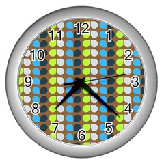 Colorful Leaf Pattern Wall Clock (silver) by creativemom