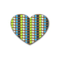 Colorful Leaf Pattern Drink Coasters (heart) by creativemom