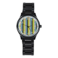 Colorful Leaf Pattern Sport Metal Watch (black) by creativemom