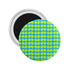 Blue Lime Leaf Pattern 2 25  Button Magnet by creativemom