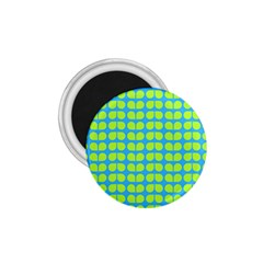 Blue Lime Leaf Pattern 1 75  Button Magnet by creativemom