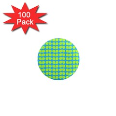 Blue Lime Leaf Pattern 1  Mini Button Magnet (100 Pack) by creativemom
