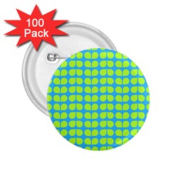 Blue Lime Leaf Pattern 2 25  Button (100 Pack) by creativemom