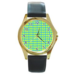 Blue Lime Leaf Pattern Round Leather Watch (gold Rim)  by creativemom