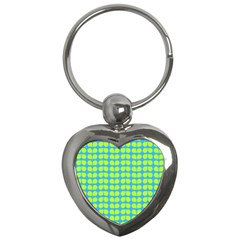 Blue Lime Leaf Pattern Key Chain (heart) by creativemom