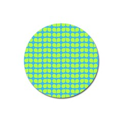 Blue Lime Leaf Pattern Magnet 3  (round) by creativemom
