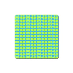 Blue Lime Leaf Pattern Magnet (square) by creativemom