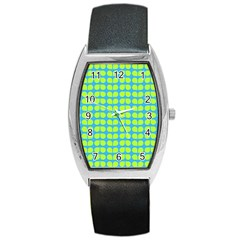 Blue Lime Leaf Pattern Tonneau Leather Watch by creativemom