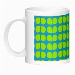 Blue Lime Leaf Pattern Glow In The Dark Mug by creativemom