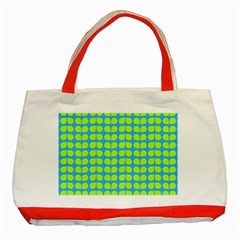 Blue Lime Leaf Pattern Classic Tote Bag (red) by creativemom
