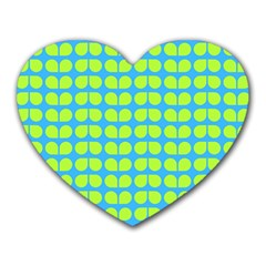 Blue Lime Leaf Pattern Mouse Pad (heart) by creativemom