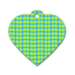 Blue Lime Leaf Pattern Dog Tag Heart (one Sided)  by creativemom