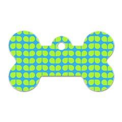 Blue Lime Leaf Pattern Dog Tag Bone (Two Sided) by creativemom